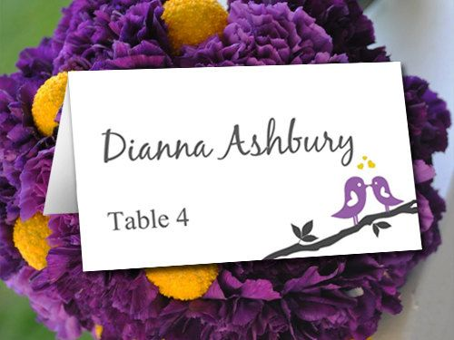 Love Bird Wedding Place Card Template Branch Purple Yellow Table Name