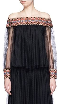 ALICE + OLIVIA 'Sidney' embroidery off-shoulder peasant top