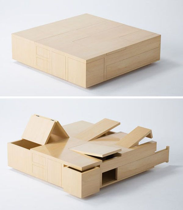 The Secret Wooden Japanese Table With 100% Storage By Naoki Hirakoso  Features Subtly Abstract Lines