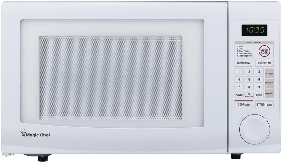 Magic Chef 1 1 Cu Ft 1000w Countertop 1 Touch Cooking Microwave In White Magic Chef Countertop Microwave Countertops