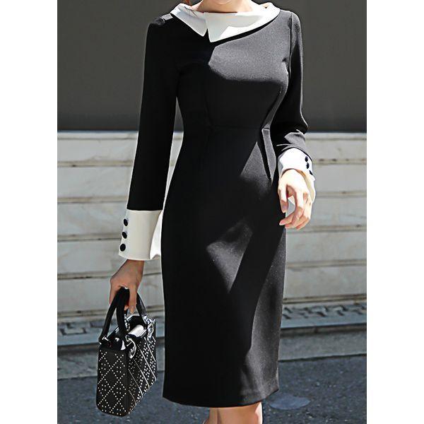 Elegant Color Block Buttons V-Neckline Sheath Dress (1955361960