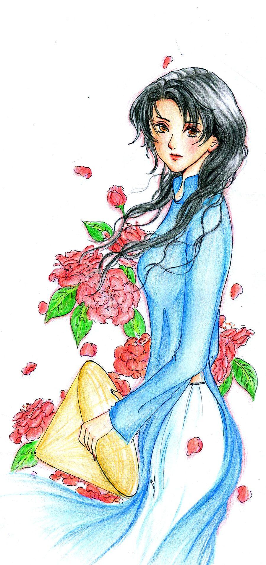 ao dai   Anime drawings, Pattern sketch, Drawings