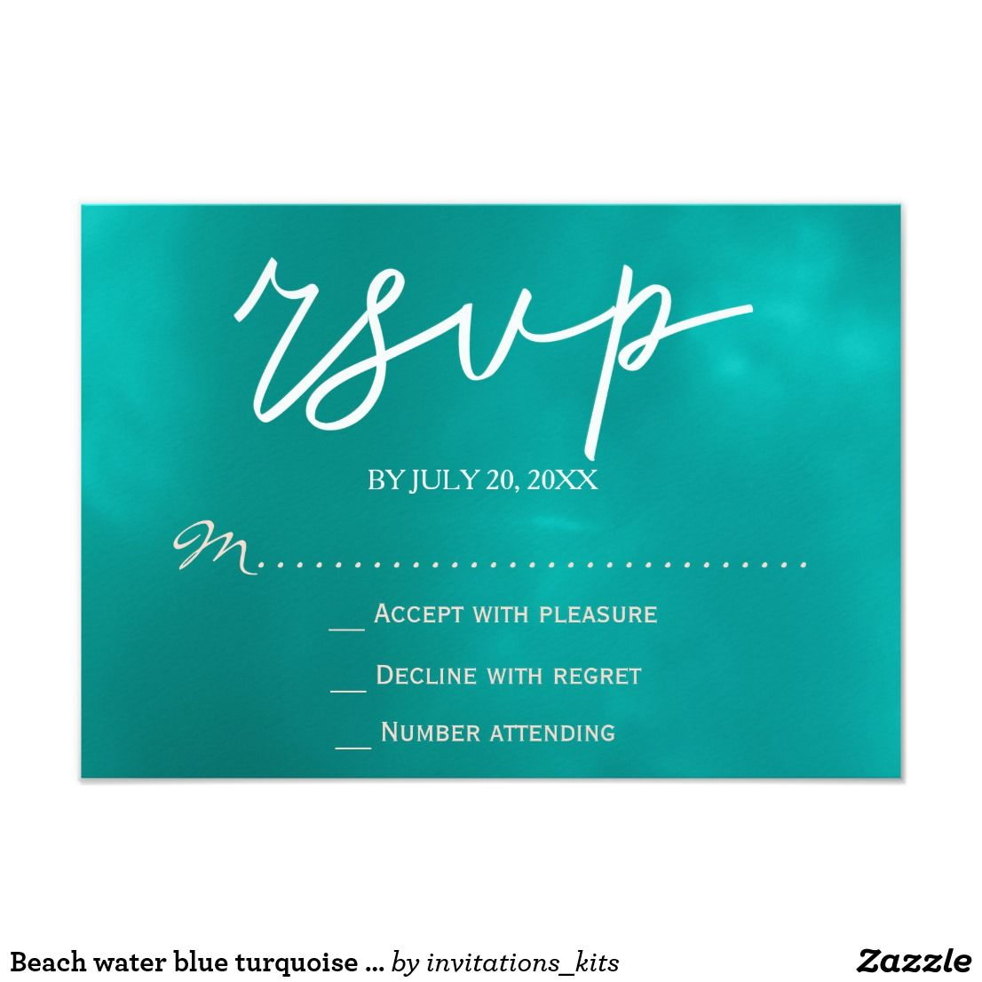 Beach water blue turquoise starfish rsvp wedding card | Beach ...