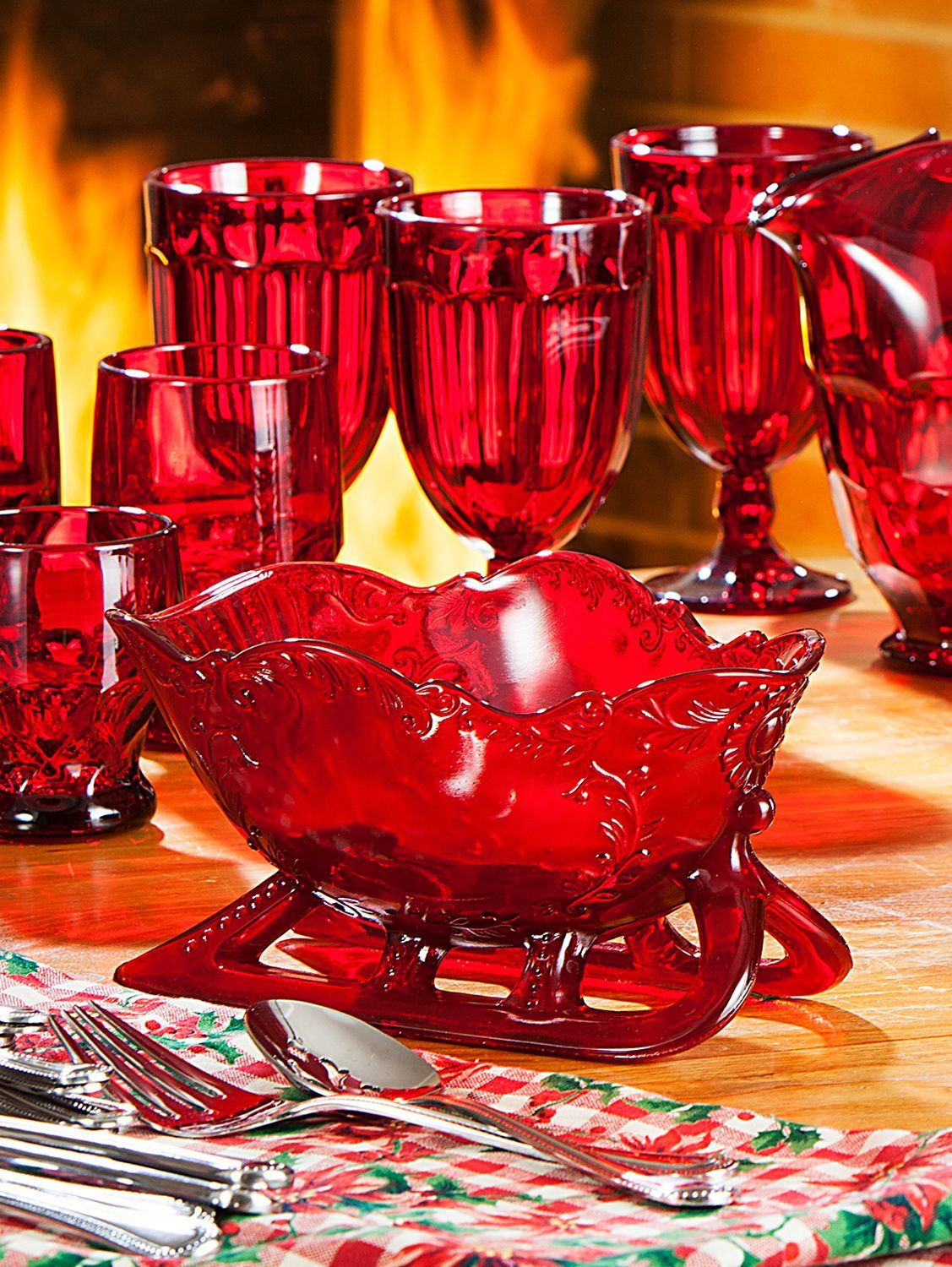 Mosser Ruby Red Glass Sleigh In 2020 Red Glass Glass Art Deco Glass