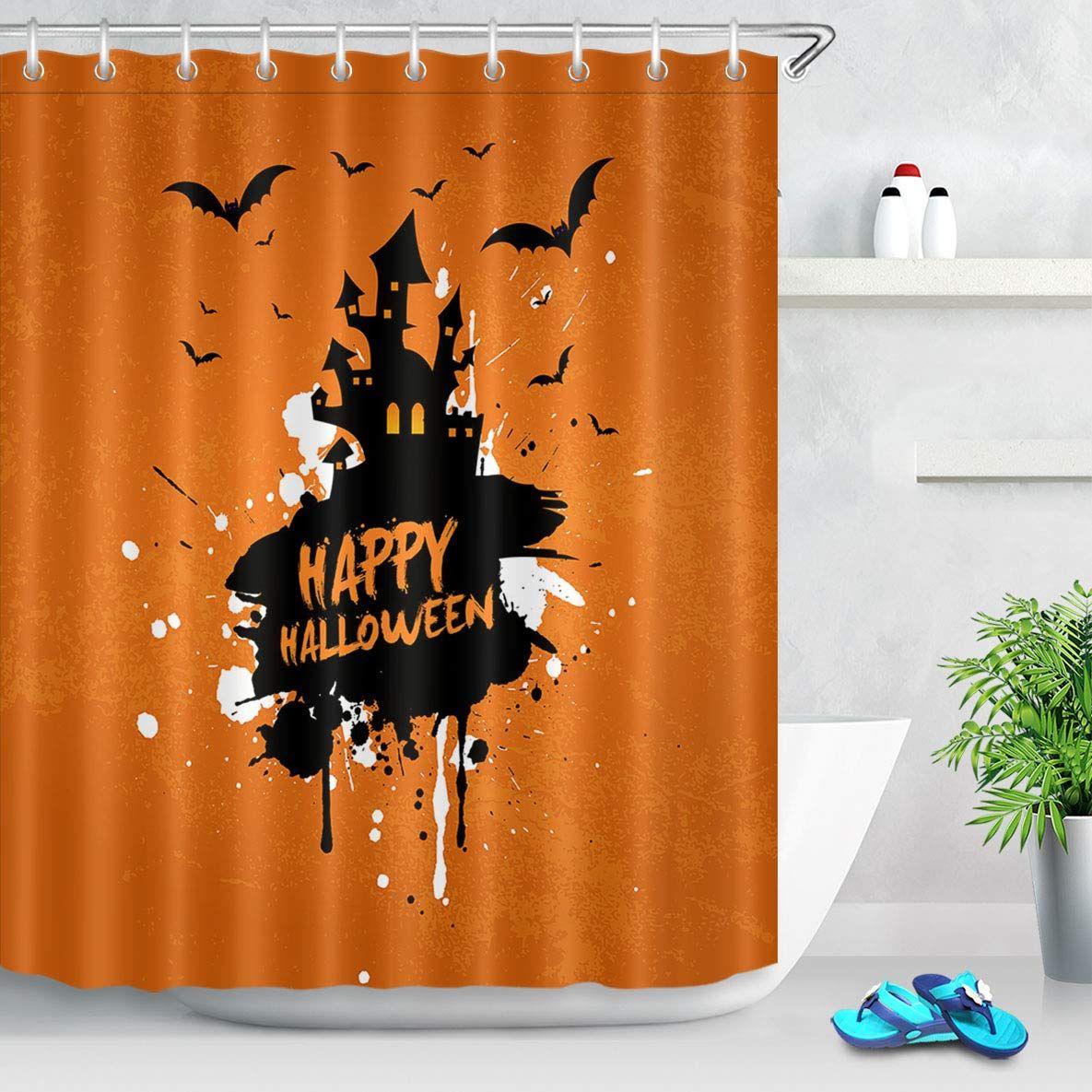 Lb Black Orange Design Haunted Castle Flying Bat Shower Curtain