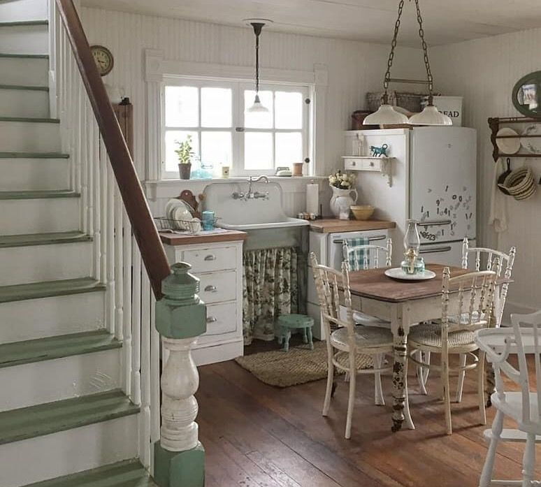 Country Cottage Kitchen Small Space White And Wood Countertops With Vintage Belfast Sink Country Cottage Kitchen Country House Decor French Cottage Kitchen