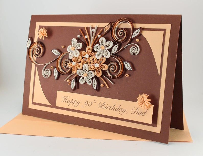 Happy 90th Birthday Card Handmade Greeting Card Quilling