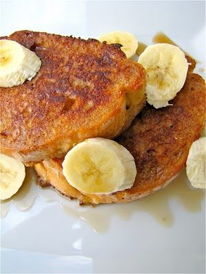 Peanut Butter/Banana French Toast! Did this for breakfast this morning for the little girls and it was awesome.