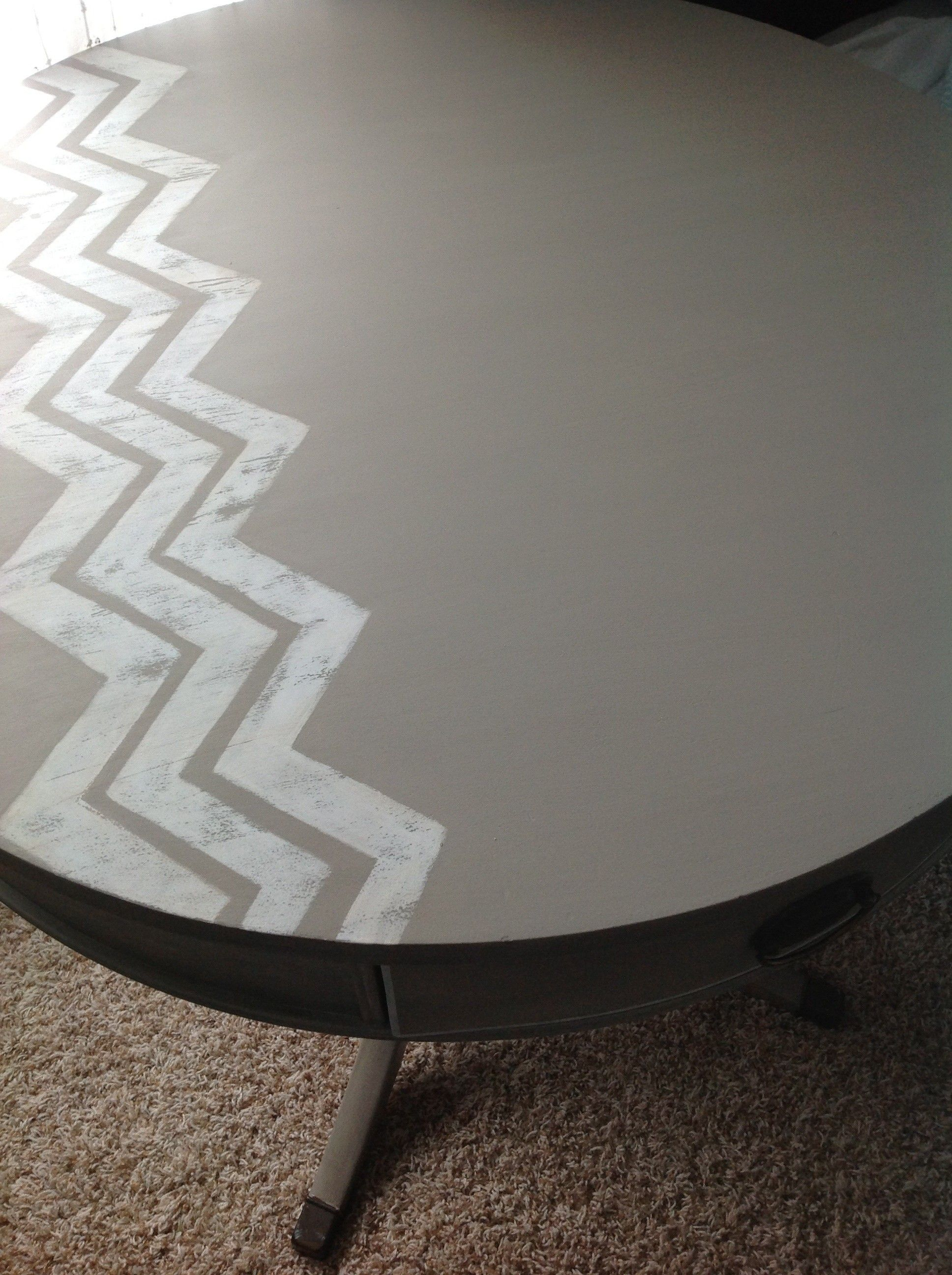 Chevron table ...love how narrow these are and how they're only in one spot!