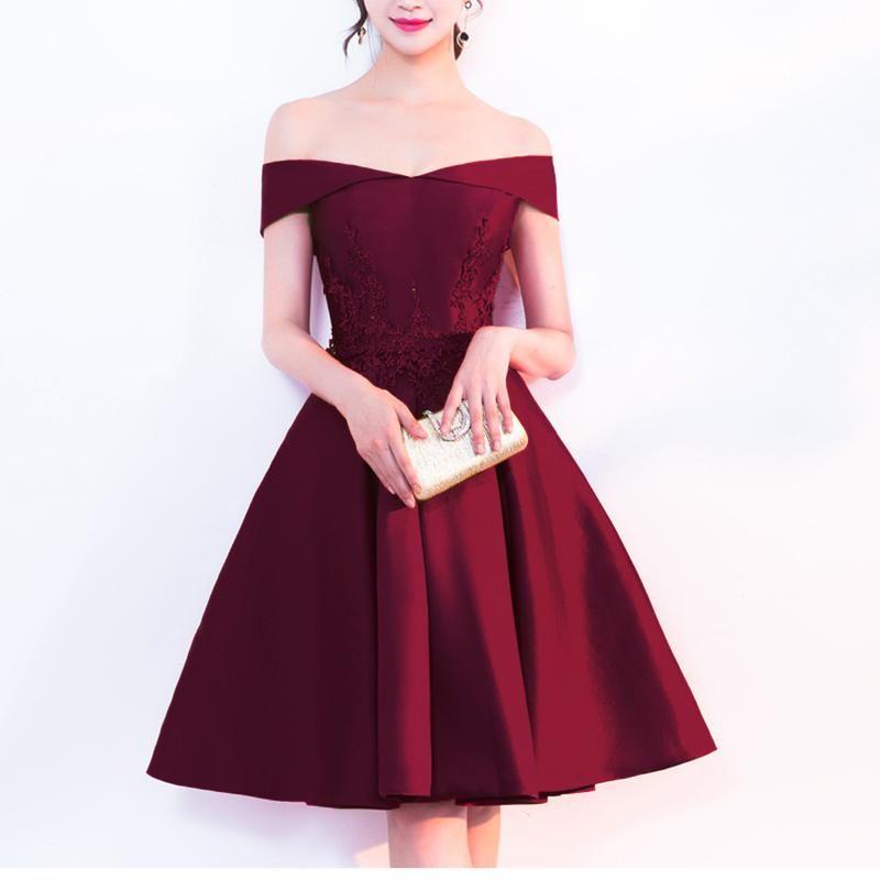 Dark red a line short prom graduation dress girls junior