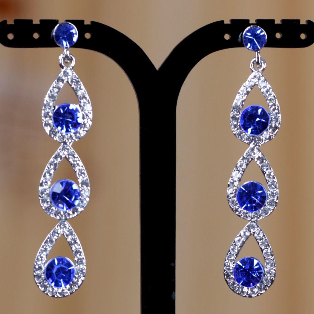 Deluxe Royal Blue Crystal Silver Teardrop Dangle Earrings