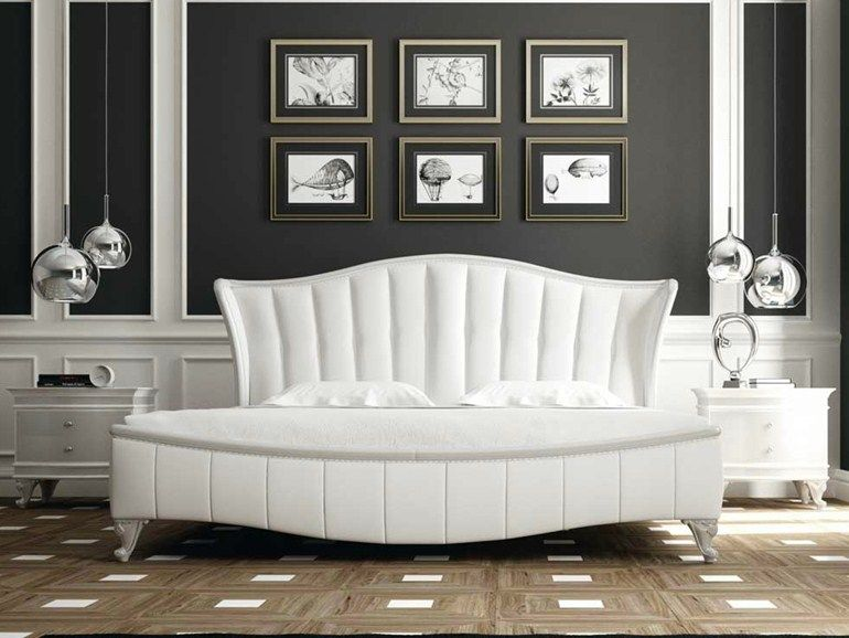 Upholstered Double Bed With Upholstered Headboard ROSE Lumiere Collection  By Formenti