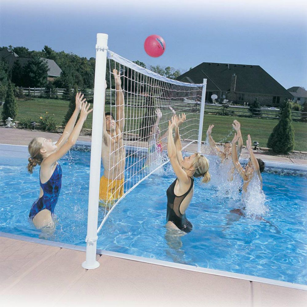 Swimming Pool Volleyball Set Net Ball Steel Posts Outdoor Above Ground Game Kit Outdoor Swimming Pools Volleyball Set