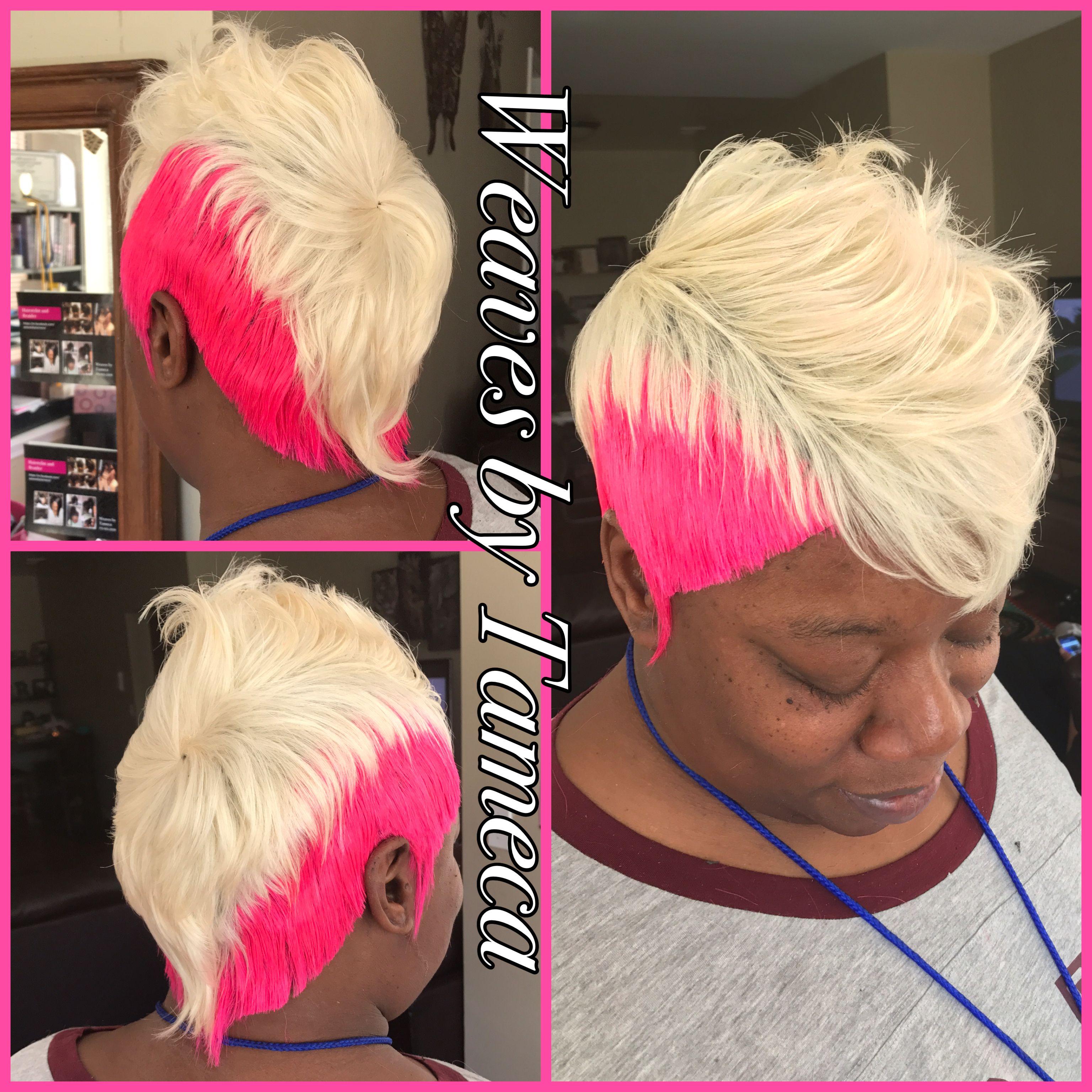 Pink Hair Short Hair White Blonde Mohawk 27 Piece Neon Pink Wig Hairstyles Womens Hairstyles Short Hair Styles