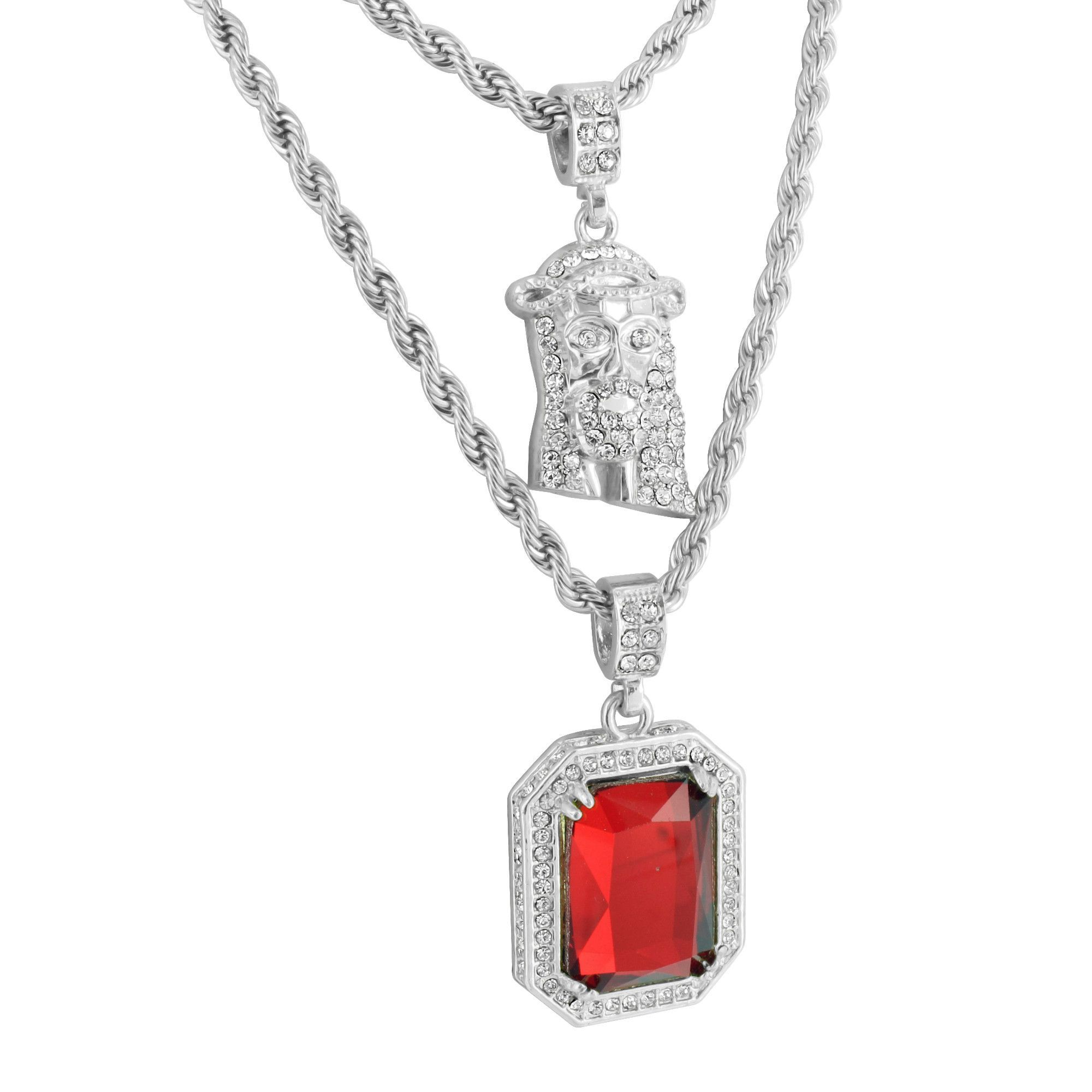 Jesus And Ruby Pendant K White Gold Finish Free Rope Chain