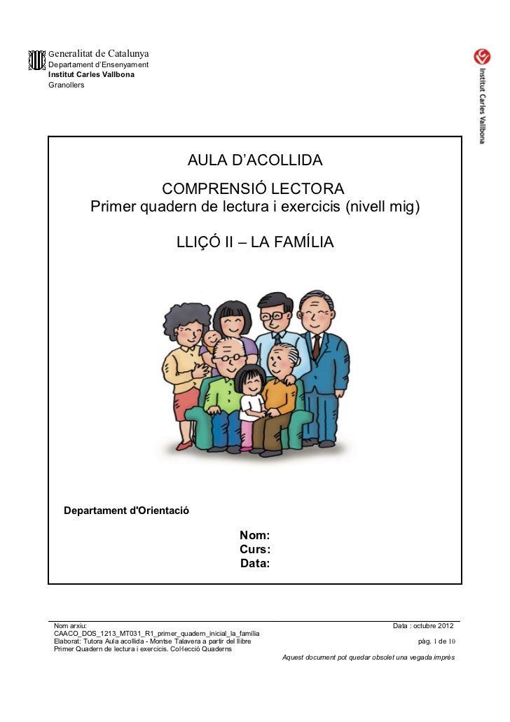 Caaco Dos 1213 Mt031 R1 Primer Quadern Inicial La Familia Lectures Comprensives Teaching Primer