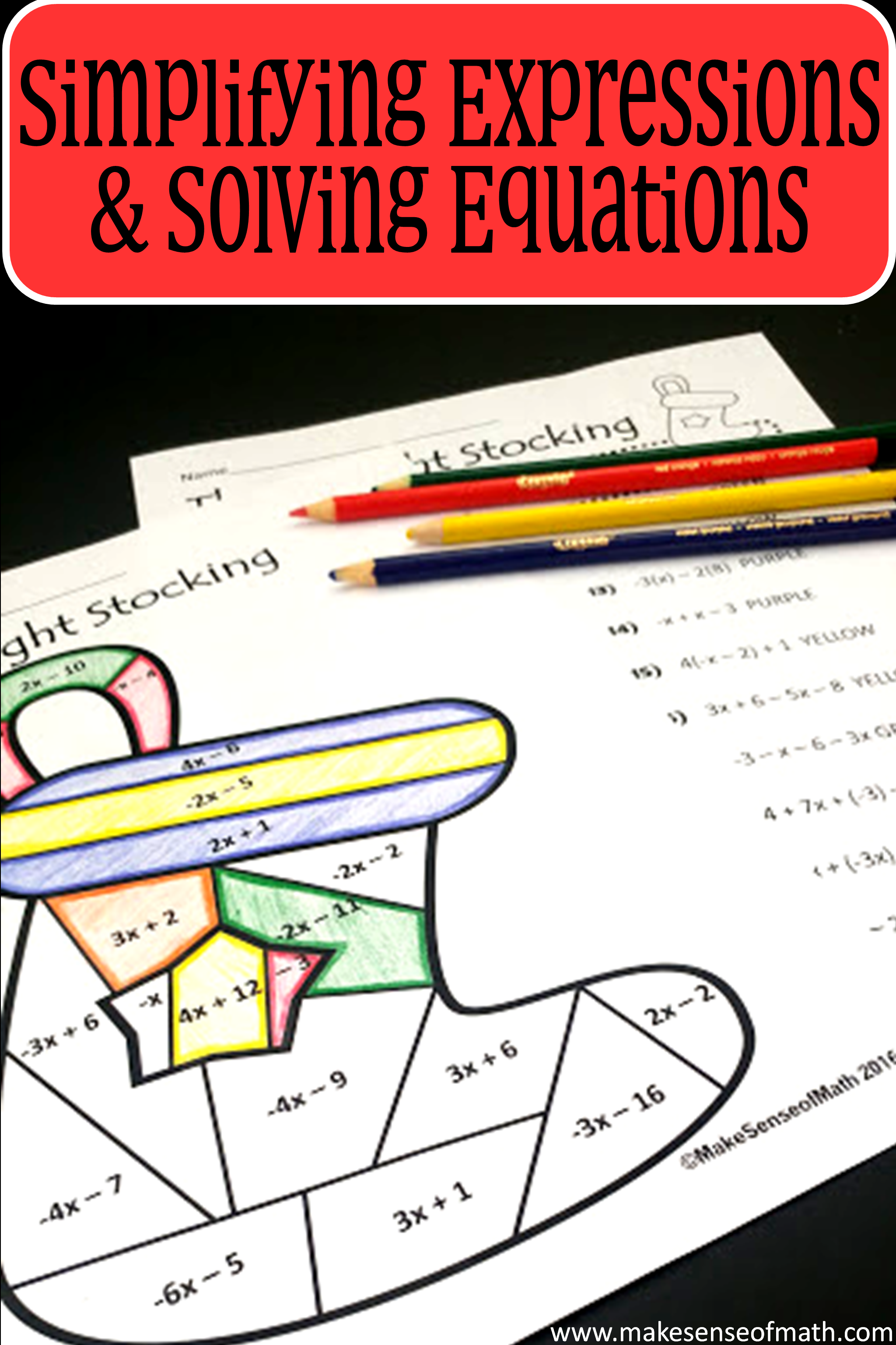 Christmas Math Activity Simplifying Expressions Amp Solving