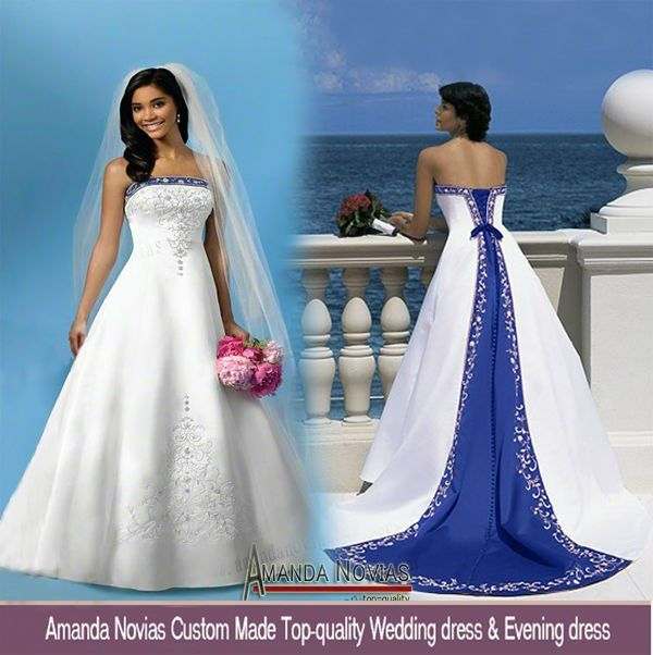 Blue And White Wedding Gowns: Off Shoulder Embroidery Satin Royal Blue And White Wedding