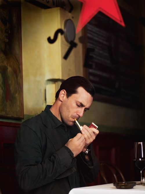 John Hamm Smoking A Cigarette In A Cafe I Hate How Much I Like This
