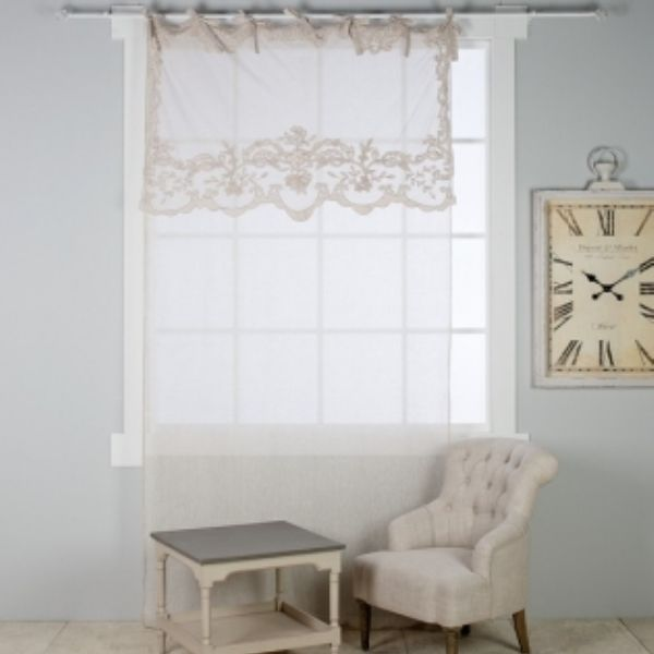 rideau de charme shabby blanc mariclo lilie rose d co wi t id pinterest. Black Bedroom Furniture Sets. Home Design Ideas