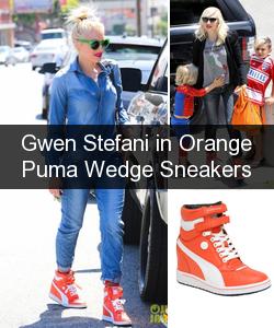 f9cf801967309 Gwen Stefani in Orange Puma Wedge Sneakers Puma Sneakers