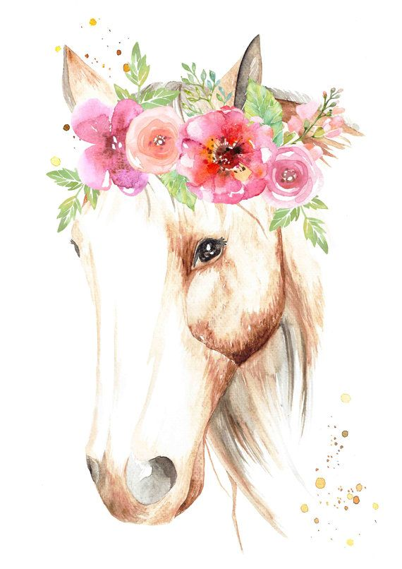 Beautiful Horse with Flower Crown  Print