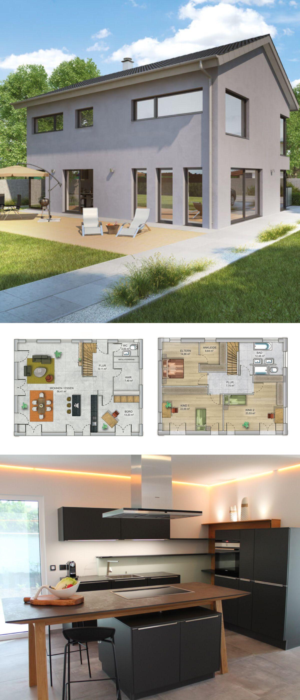 Massives Fertighaus Mit Moderner Satteldach Architektur Haus Bauen