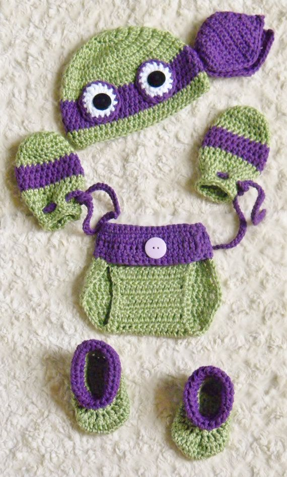 TMNT Ninja Turtles Crochet Baby 2-6 Piece Sets. Photo Prop. Free ...