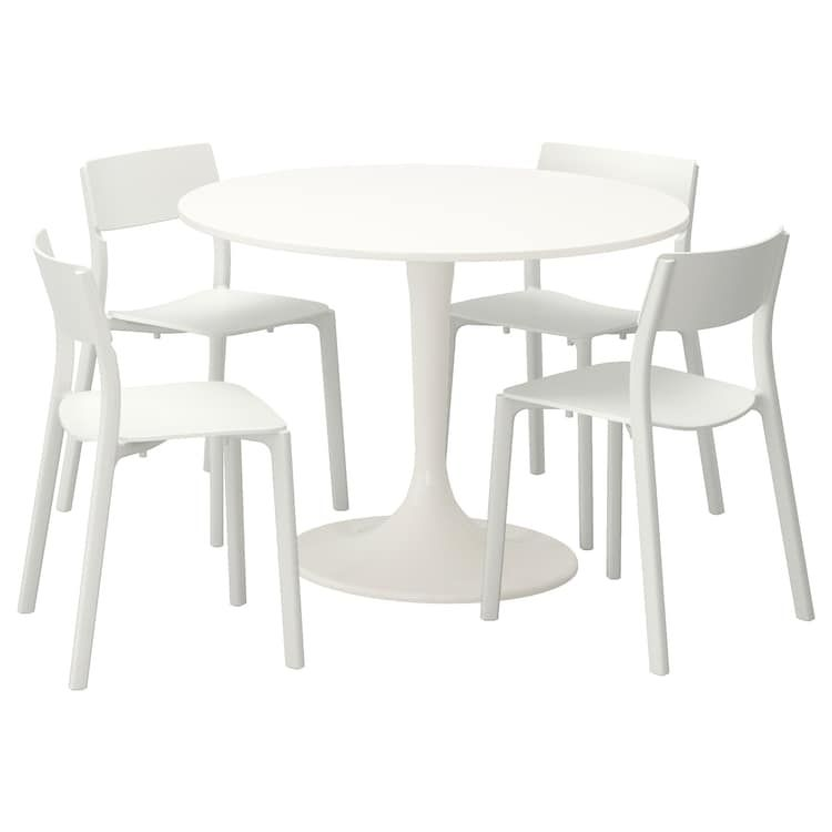 IKEA DOCKSTA JANINGE White, White Table and 4 chairs in