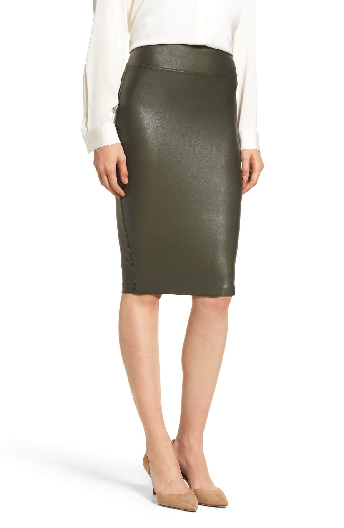 9cba78adb05a6 Faux Leather Pencil Skirt, Main, color, DEEP OLIVE | Smashing ...