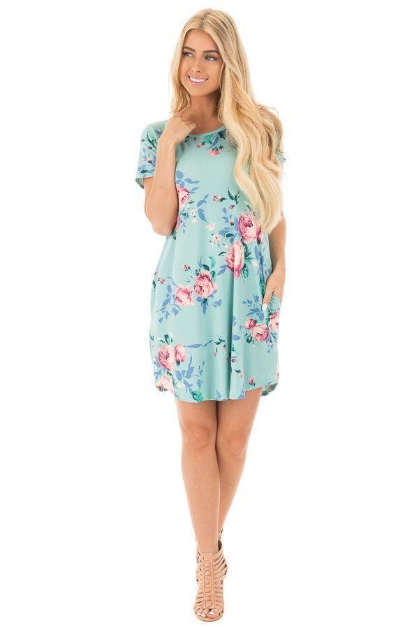 a212baf6194 Women s Short Mini Dress Round Neck Floral Printing Dress Short Sleeve  Ladies Summer Dress