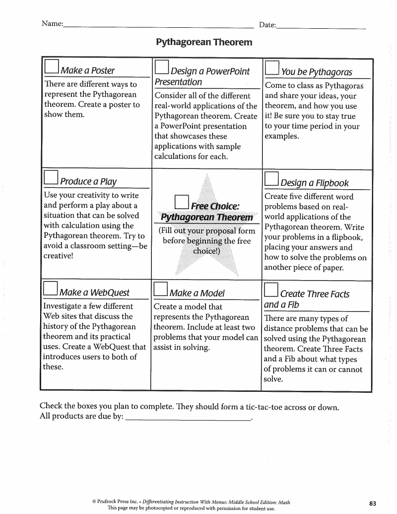 MathPythagorean.pdf Seventh grade math, Math