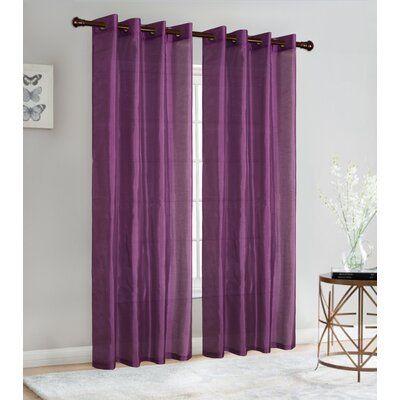 Glory Home Design Christina Solid Semi Sheer Grommet Curtain