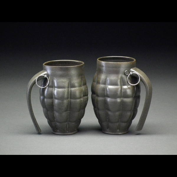 """Grenade Ceramic Mugs by Beer's Pottery. We also carry his whistle mugs and goblets that contain a bell (""""More beer, please!) mtcontempo.com"""