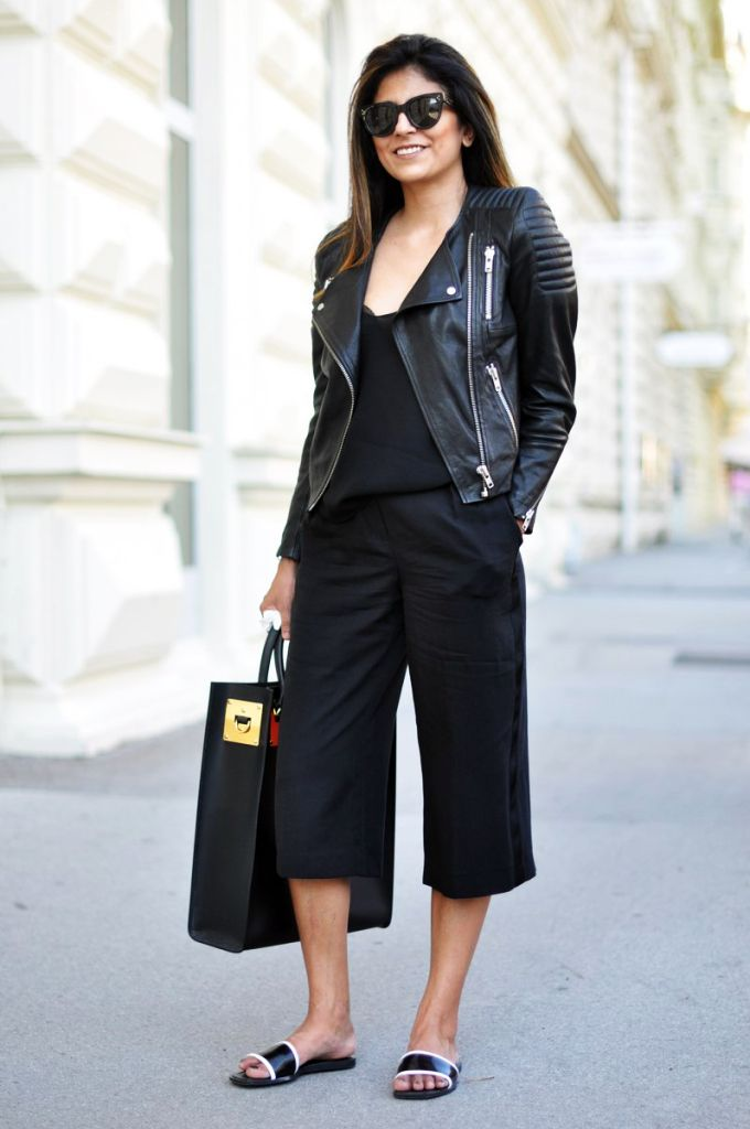 how to wear culottes with leather jacket