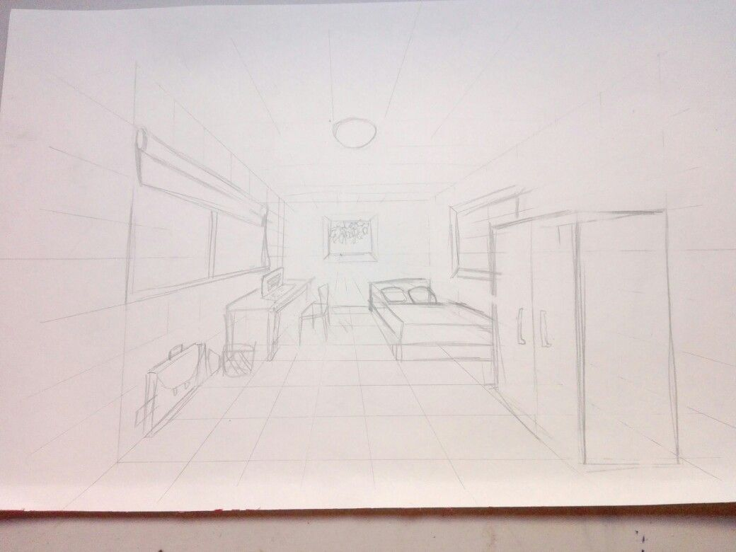 Escenario A 1 Punto De Fuga Cuarto Punto De Fuga Boceto Interior Puntos