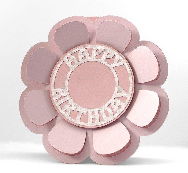 3d Flower Card Cricut Birthday Cards Birthday Card Template Free Flower Cards