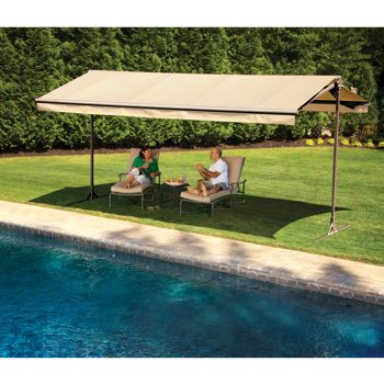 The Sunsetter Oasis Freestanding Awning Motorized And Manually Operated Versions Portable Awnings Patio Pergola Plans