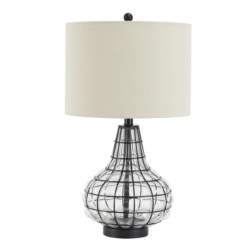 17 Stories Kiersten Tall Caged Glass 24 8 Table Lamp Reviews Wayfair Table Lamp Lamp Table Lamp Wood