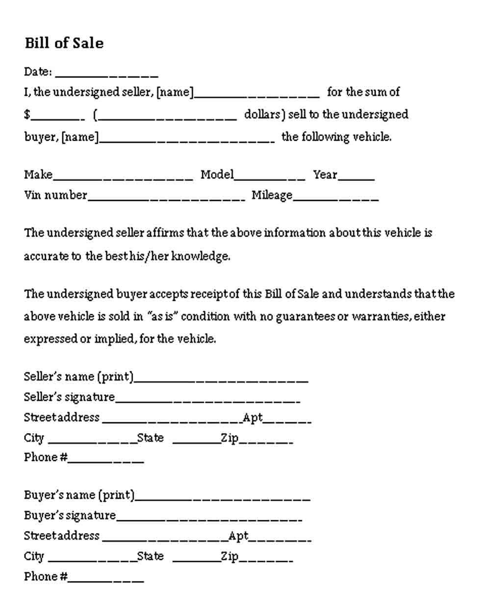 Bill of Sale Form   Bills, Business template, Templates
