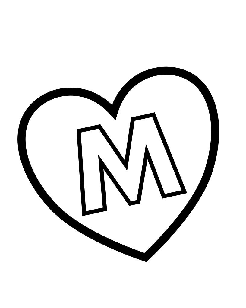 valentines day heart m alphabet coloring pages coloring pinterest
