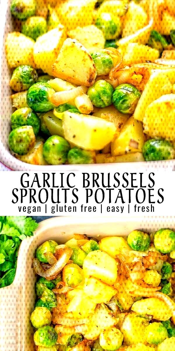 Garlic Brussels Sprouts Potatoes - Contentedness Cooking - food -