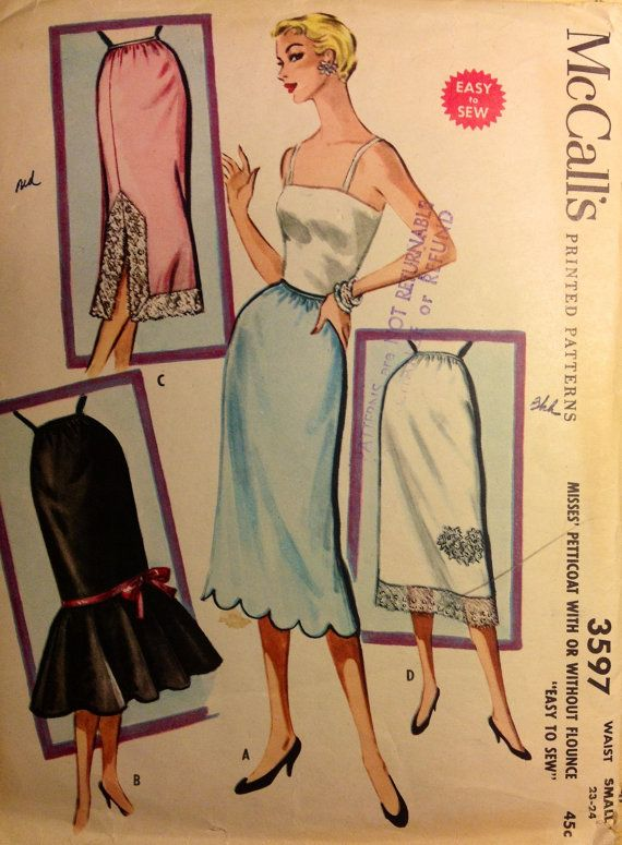 McCalls 3597 VINTAGE Petticoat Slip Skirt with by ThimbleNThread, $15.77
