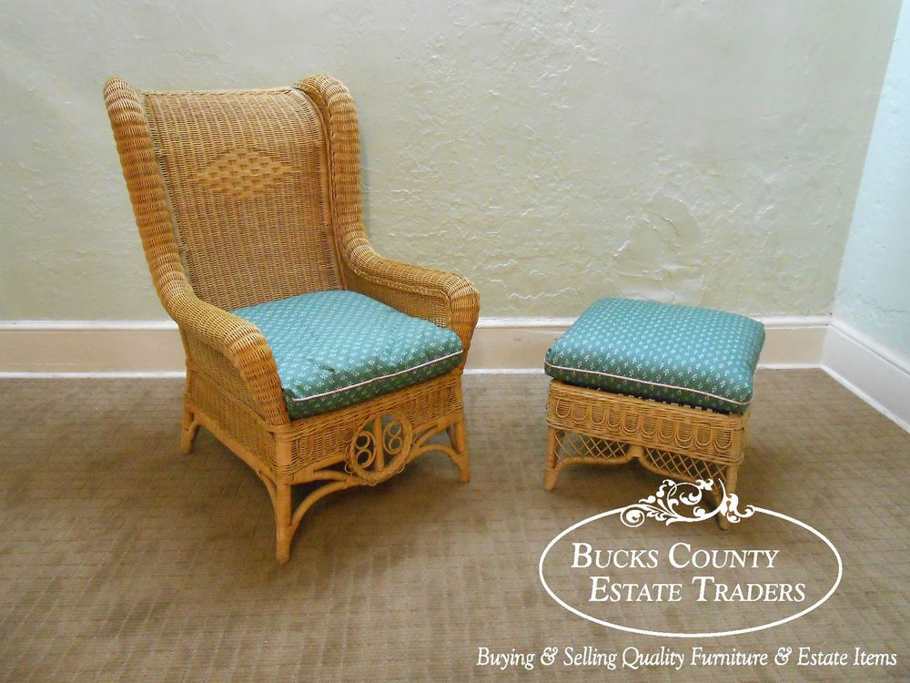 Ralph Lauren Wicker Rattan Wing Chair W/ Ottoman