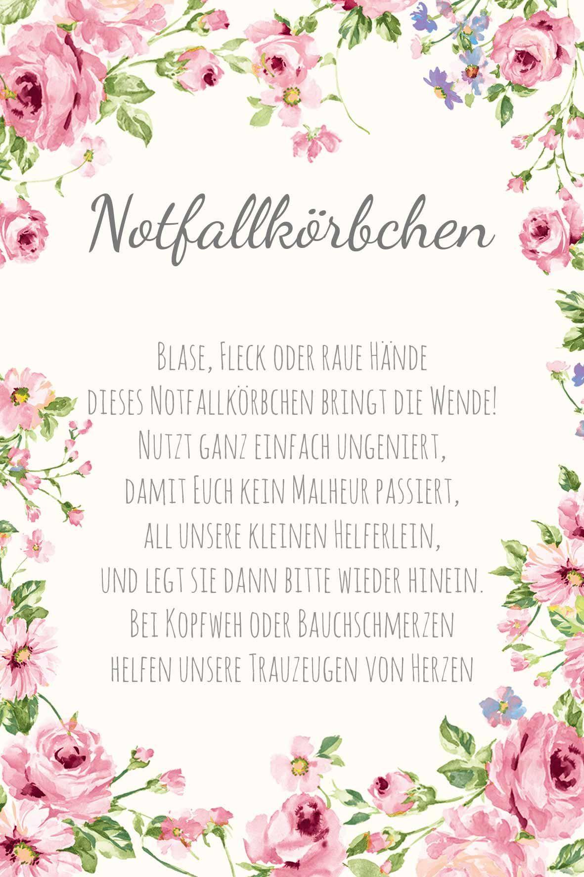 Vorlagen für eure Hochzeit: Karten, Schilder & mehr im blumigen Design als Freebie zum Download: Notfallkörbchen #flowers
