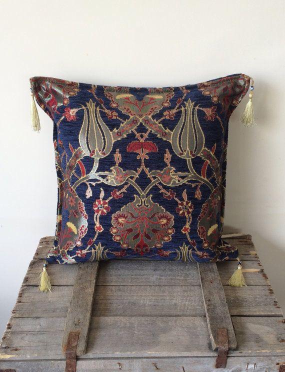 "Decorative Pillow Throw Pillow Dark Blue Ottoman Tulip Pattern 16""x16"" Decorative Cushion Home Decor Pillow Cover with Tassels"