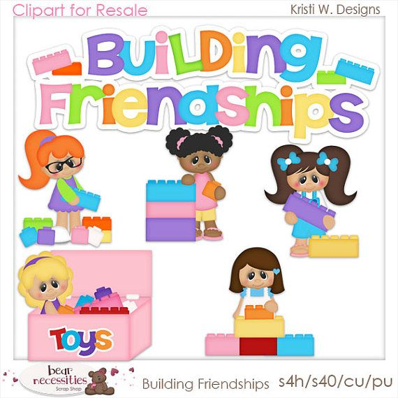 Building Friendships 1 Clipart Digital Zip Download by MaddieZee