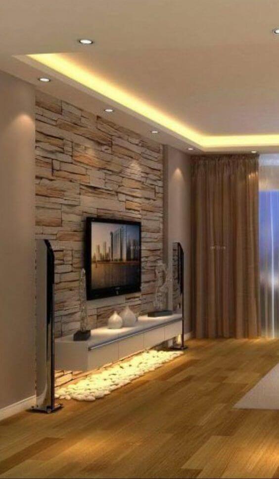 50 Wandfarbe Wohnzimmer Feng Shui Mit Creme Und Braun Living Room Decor Modern Stone Wall Living Room Home