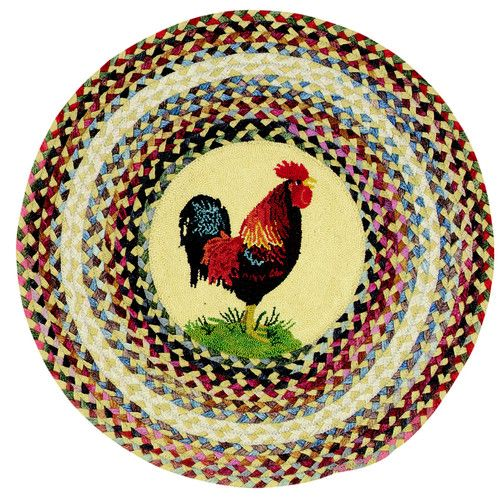 Round Rooster Rug For Kitchen Center Made In Usa For