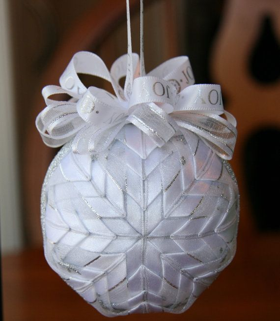 Quilted Christmas Ornament Ball/White and by YouniqueOrnaments, $25.00
